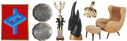 """Objekt med utropspris från vänster: 73. OSCAR REUTERSVÄRD, oljemålning på duk, """"Omöjlig Figur"""", SEK 20 000. 103. WIWEN NILSSON, silverbrickor, ett par, SEK 15 000. 3. GOLVKANDELABER, förgylld och patinerad brons, Frankrike, 1800-tal, SEK 10 000. 107. GUNNAR NYLUND, stengodsskulptur på träsockel, SEK 4 000-5 000. 144. DIAMANTHÄNGE, 18K guld med diamanter, totalt ca 0,13 ct, SEK 3 600. 417. BENGT RUDA, tillskriven, fåtölj med fotpall, 1950-tal, SEK 8 000."""
