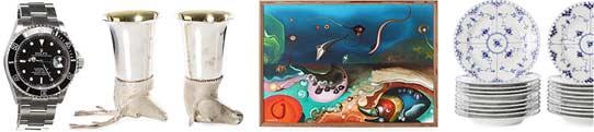 """Objekt från vänster: 371. Rolex Oyster Perpetual Submariner, utrop SEK 40 000-50 000. 305. Jaktbägare, 2 st, England, sterlingsilver med invändig förgyllning, utrop SEK 5 000. 16. Lars Grönfeldt, havsmotiv med fantasidjur, utrop SEK 1 000. 104. Royal Copenhagen, mattallrikar, 20 st, """"Musselmalet"""", 1/1085, utrop SEK 5 000."""