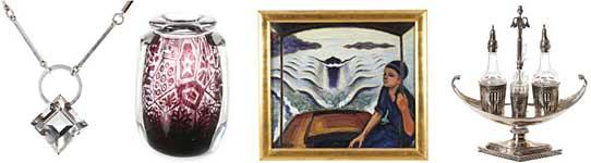 """Objekt från vänster: 5. Wiwen Nilsson, halssmycke, silver med bergkristall, utrop SEK 6 000. 92. Edvin Öhrström, graalvas, utrop SEK 15 000-20 000. 69. Agnes Cleve, """"Afton i motorbåt, Bohuslän"""", signerad och daterad 1930, utrop SEK 40 000-50 000. 321. Abraham Gertzen d y, bordsortout, silver och glas, Landskrona 1805, utrop SEK 10 000-12 000."""